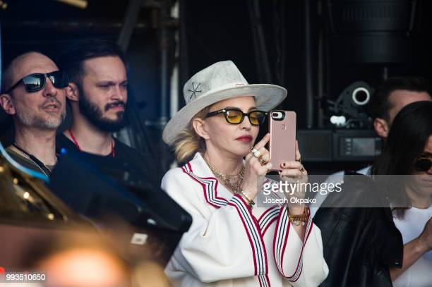 Madonna watches Migos perform during Day 2 of Wireless Festival 2018 at Finsbury Park on July 7 2018 in London England