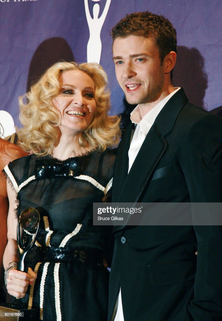 Madonna who was Inducted into Rock and Rol History and Justin Timberlake pose in the press room at the 2008 Rock and Roll Hall of Fame Induction Ceremony at The Waldorf-Astoria Hotel on March 10, 2008 in New York City.