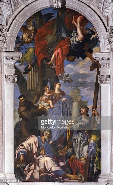 Madonna with Child and Saints Francis Matthew and Helen by Francesco Ruschi detto Rustichino XVII Century canvas Italy Veneto Venice Church of San...