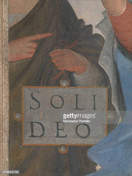 'Madonna with Child and two Angels by Bramantino c 1525 16th Century fresco 240 x 135 cm Italy Lombardy Milan Brera Picture Gallery Detail Scene with...