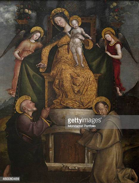 Madonna with Child on the throne and two Saints by Francesco Verla 15th Century oil on canvas 182 x 140 cm