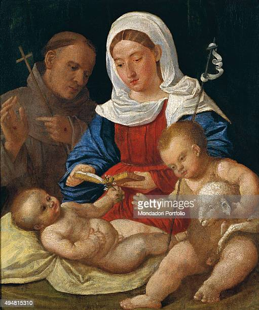 Madonna with Child St Giovannino and St Francis by Giovanni Busi 16th Century oil on panel Italy Credito Valtellinese Whole artwork view Holy...