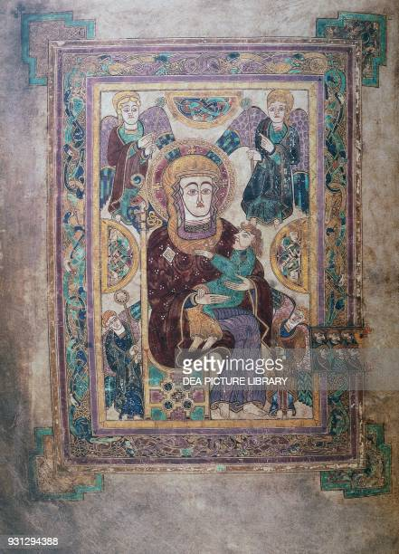 Madonna with the child the first image of the Virgin in a western manuscript ca 800 miniature from the Book of Kells Latin manuscript folio 7 verso...