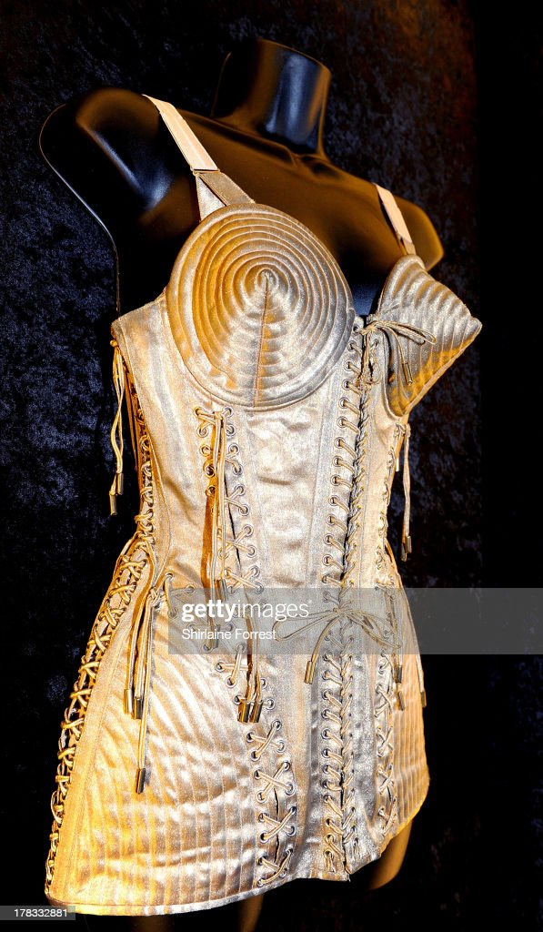 Madonna's cone bra costume designed by Jean Paul Gaultier is displayed as part of Hard Rock Cafe's Hard Rock Couture exhibition on August 29, 2013 in Manchester, England.