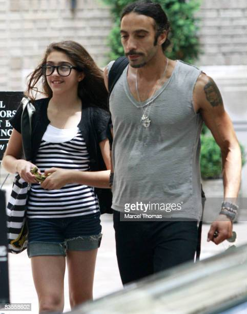 Madonna's daughter Lourdes Leon walks with her father Carlos Leon on the upper westside of Manhattan on June 30 2008 in New York City