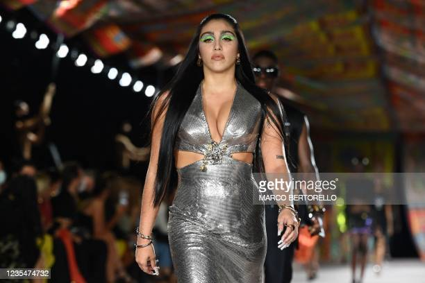 Madonna's daughter Lourdes Maria Ciccone presents a creation for Versace's Women's Spring-Summer 2022 collection during the Fashion Week in Milan on...