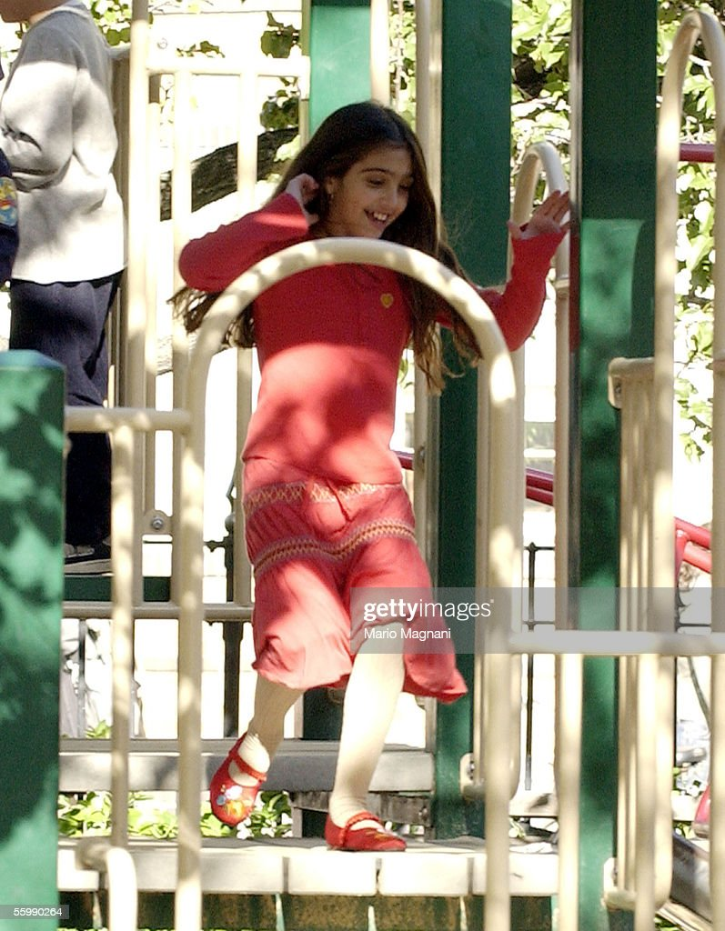 Madonna's daughter Lourdes plays on a downtown playground on October 23, 2005 in New York City.
