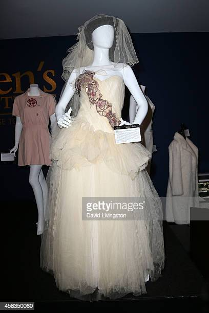 Madonna's dress for her wedding to Sean Penn is displayed at Julien's Auctions Media Preview for Icons Idols Rock N' Roll Event at Julien's Auctions...