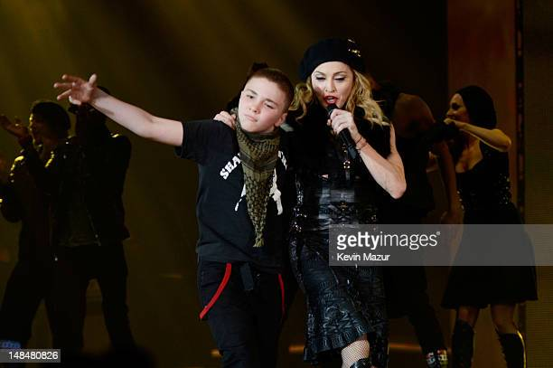 Madonna's son Rocco performs onstage with Madonna during her MDNA Tour at Hyde Park on July 17 2012 in London England