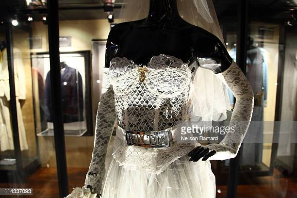 Madonna's wedding dress worn in the video for 'Like a Virgin' and during her performance at the 1stÊ MTV Video Music Awards in 1984 is shown on...