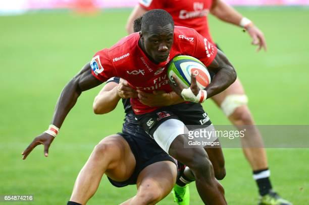 Madosh Tambwe of the Lions during the Super Rugby match between Emirates Lions and Reds at Emirates Airlines Park on March 18 2017 in Johannesburg...