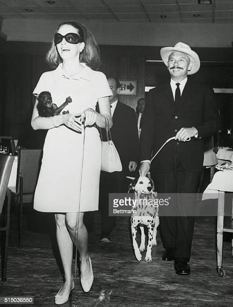 Arrive Actor Yul Brynner and his wife walk with their pets as they arrive here from Geneva Brynner is here to costar with Robert Mitchum in the film...