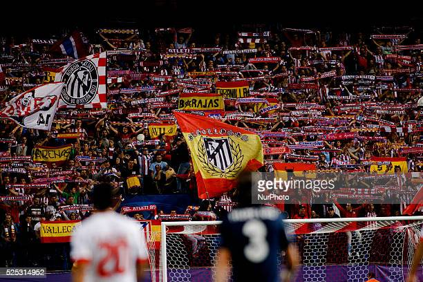 Atletico de Madrid fans during the Champions League 2015/16 match between Atletico de Madrid and Benfica, at Vicente Calderon Stadium in Madrid on...