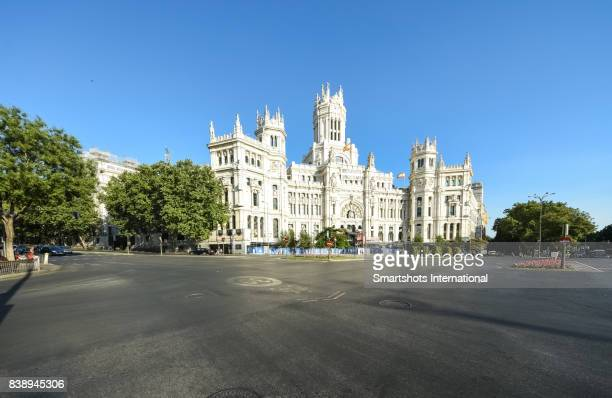 'madrid city hall' on cibeles square (plaza de cibeles) in madrid, spain - famous place stock pictures, royalty-free photos & images