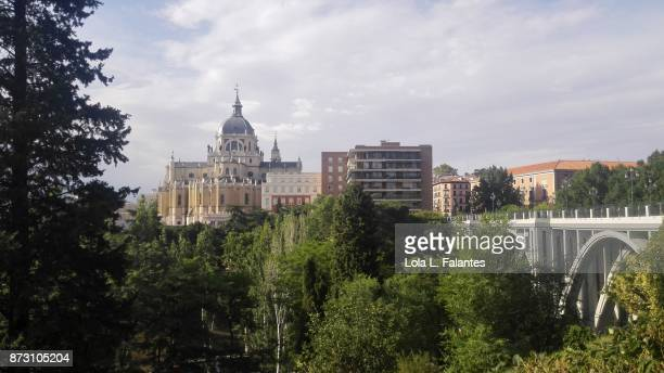 Madrid  cityscape with Almudena cathedral