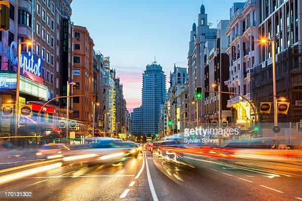 Madrid, Gran Via at Dusk