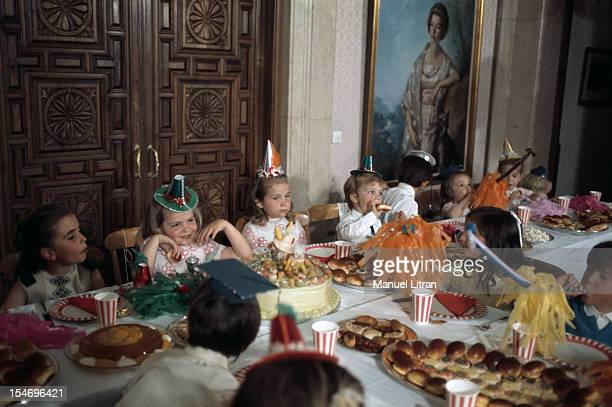 Madrid July 1971 at the Zarzuela Palace the Infanta Cristina celebrates its 7 years These are the children of the elite who are invited to Madrid...