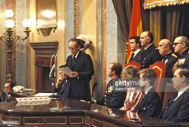 1978 Madrid King`s of Spain and their children the day of the signing of the Constitution