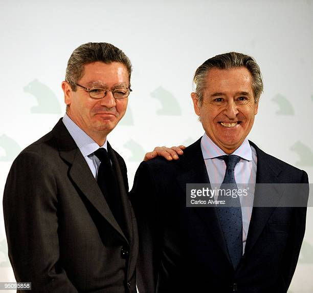 Madrid Mayor Alberto Ruiz Gallardon and president of Banco Caja Madrid Miguel Blesa attend the Inauguration of Caja Madrid Monument on December 23...