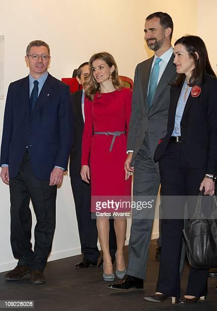 Madrid Mayor Alberto Ruiz Gallardon Princess Letizia of Spain Prince Felipe of Spain and Spanish Culture Minister Angeles Gonzalez Sinde attend the...