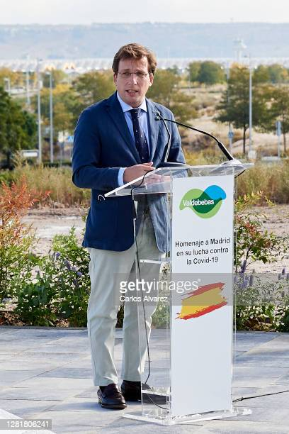 Madrid mayor Jose Luis Marttnez-Almeida attends the Tribute to Madrid city in its fight against Covid -19 at Valdebebas on on October 23, 2020 in...