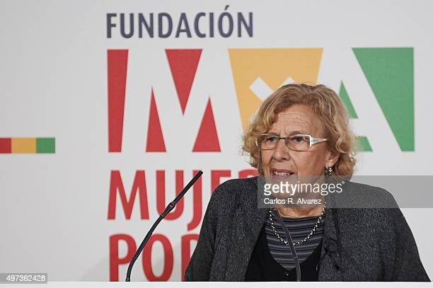 Madrid Mayor Manuela Carmena attends a meeting with Mujeres Por Africa foundation at the Cecilio Rodriguez Garden on November 16 2015 in Madrid Spain