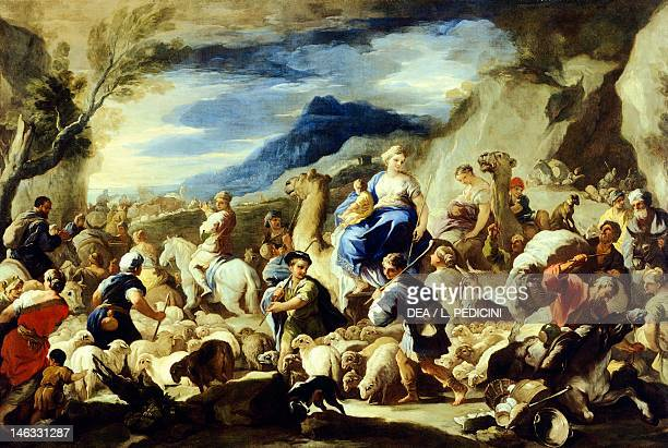 Madrid Museo Del Prado Rebecca's departure for Canaan Luca Giordano oil on copper 59x85 cm