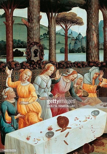 Madrid Museo Del Prado Stories of Nastagio degli Onesti ca 1483 by Sandro Botticelli tempera on wood 83x142cm Detail