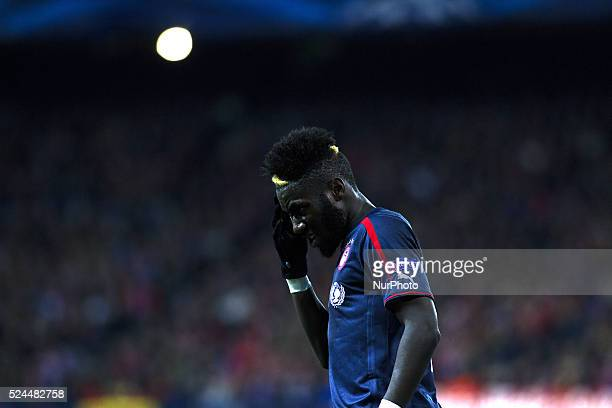 Olympiacos French Defender Arthur Masuaku during the Champions League 2014/15 match between Atletico de Madrid and Olympiacos at Vicente Calderon...