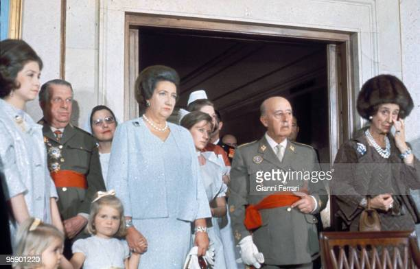 Madrid Palacio del Pardo Spain Franco in the baptism of the prince Felipe with its wife Carmen with Sofia of Greece with Maria de las Mercedes of...