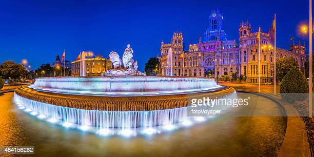 madrid plaza de cibeles fountain palacio de comunicaciones illuminated spain - madrid stock pictures, royalty-free photos & images