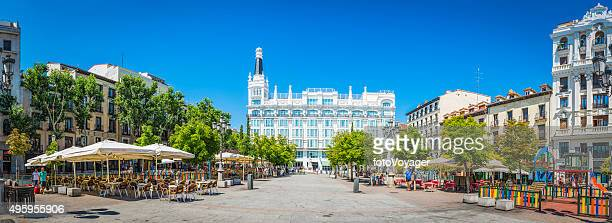 madrid plaza de santa ana restaurants hotels picturesque square spain - madrid stock pictures, royalty-free photos & images