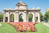 Madrid Puerta de Alcala iconic monumental gate, Spain
