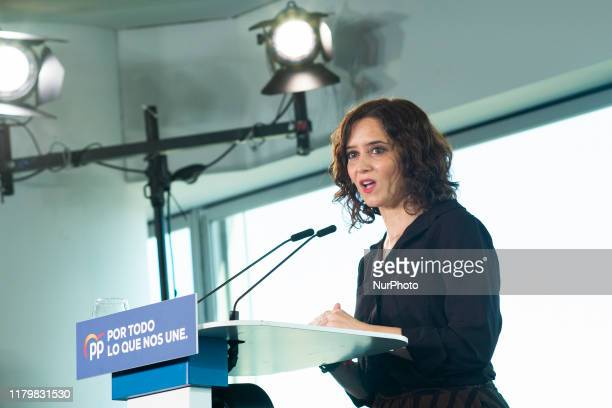 Madrid regional government presidner Isabel Díaz Ayuso during an electoral campaigne act held in Madrid Spain on 03 November 2019 Spain will held...