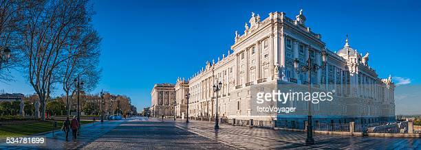 Madrid Royal Palace Plaza de Oriente at daybreak panorama Spain