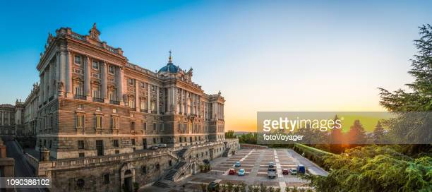 madrid royal palace sabatini gardens plaza oriente sunset panorama spain - madrid royal palace stock pictures, royalty-free photos & images