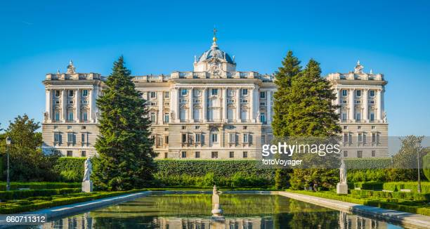 Madrid Sabatini Gardens Palacio Real reflecting tranquil pool panorama Spain