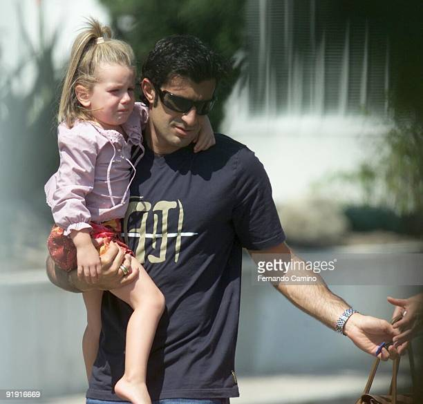 Madrid September 2002 Luis Figo player of Real Madrid and their wife Helen Swedin goes to the Spanish clinic Ruber the International to cure to their...