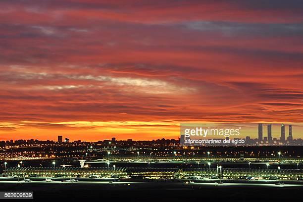 Madrid skyline at sunset, Spain
