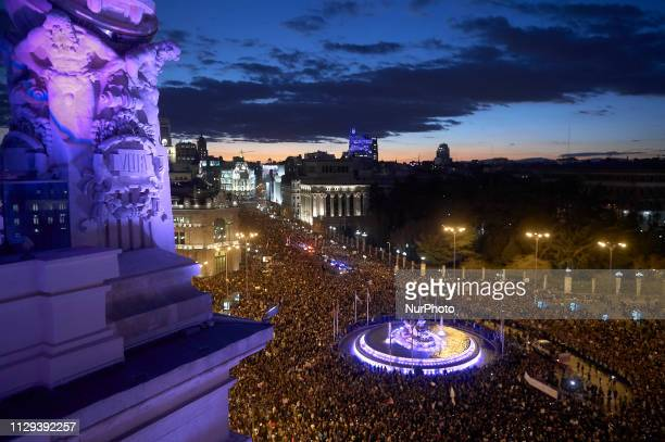 Madrid Skyline during the International Women's Day on March 08 2019 in Madrid Spain