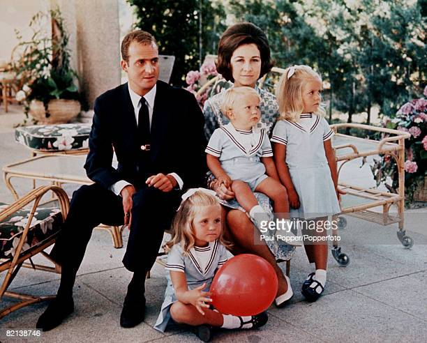 Madrid, Spain, 29th July 1969, Prince Juan Carlos de Bourbon of Spain is pictured with his wife, Princess Sofia of Greece, with their children L-R:...