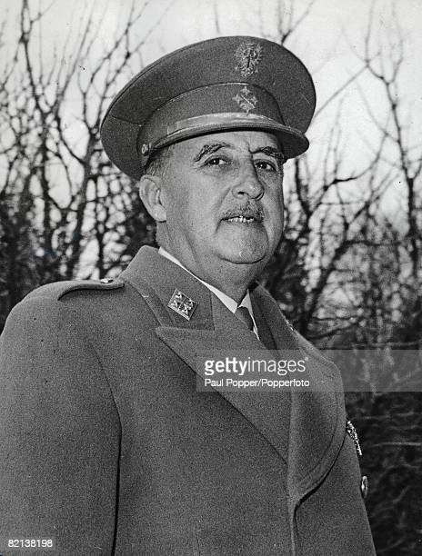 Madrid Spain 31st March Spanish Head of State and General of the Army Captain General Francisco Franco wearing coat and military hat