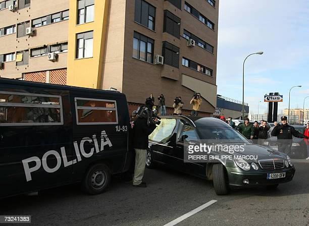 A hearse leaves after picking up the body of Erika Ortiz younger sister of Spain's Princess Letizia who died earlier today in Madrid 07 February 2007...