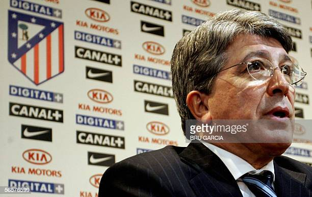 Atletico de Madrid's President Enrique Cerezo is seen during a press conference in Madrid 12 January 2006 following the sacking of coach Carlos...