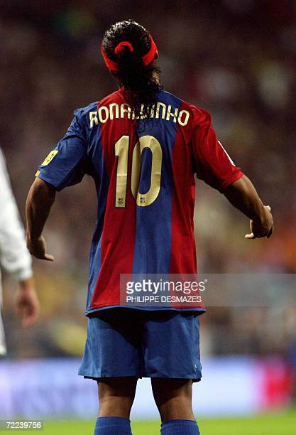 Barcelona's Brazilian Ronaldinho gestures while playing Real Madrid in a Spanish league football match in Madrid 22 October 2006 Real won 20 AFP...