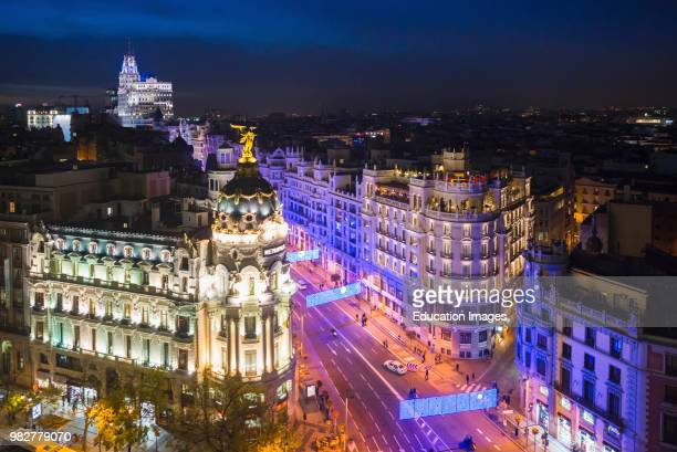 Madrid Spain cityscape at Calle de Alcala and Gran Via
