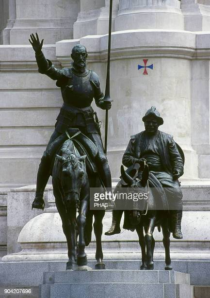 Madrid Spain Don Quixote and Sancho Panza Detail of the monument erected in honor to Miguel de Cervantes in the Plaza de España in 1835 Miguel de...