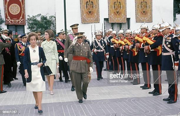 Madrid Spain Francisco Franco the day of its saint's day with its wife and the princes of Spain