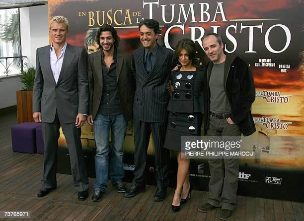 From left Swedish actor Dolph Lundgren Italian actor Daniele Liotti Italian director Giulio Base Spanish actors Monica Cruz and Fernando Guillen...