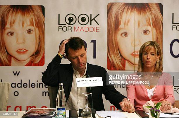 Gerry and Kate McCann give a press conference in Madrid 01 June 2007 to raise awareness about their missing daughter Madeleine Madeleine disappeared...